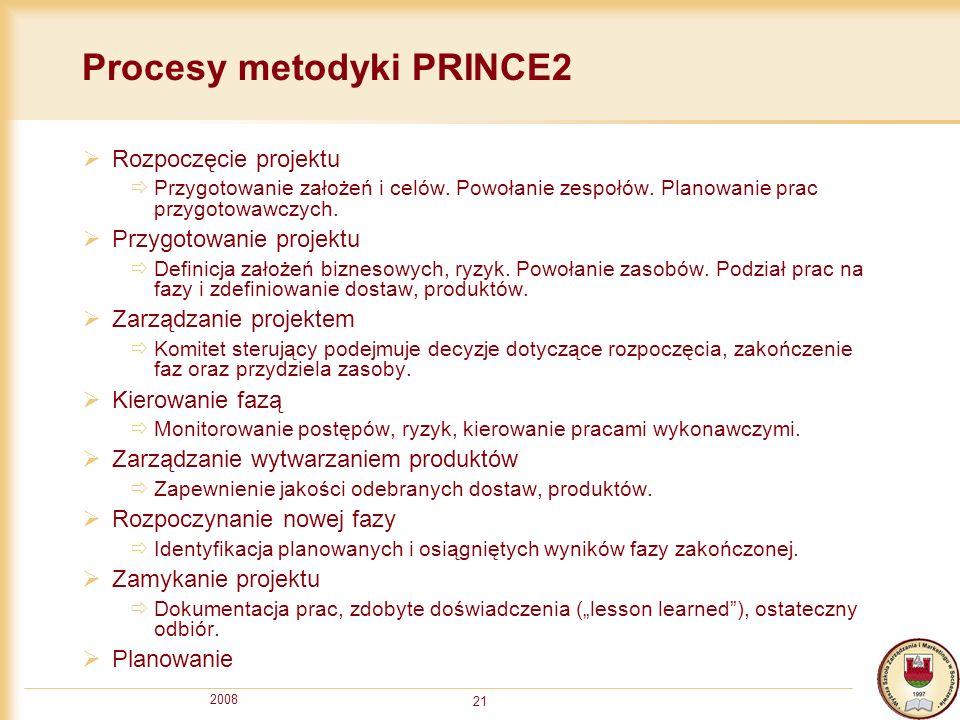 2008 21 Procesy metodyki PRINCE2 Rozpoczęcie projektu Przygotowanie założeń i celów. Powołanie zespołów. Planowanie prac przygotowawczych. Przygotowan