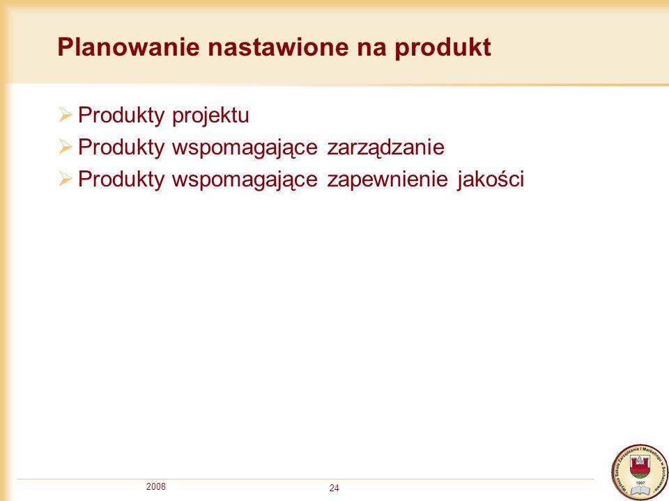 2008 24 Planowanie nastawione na produkt Produkty projektu Produkty wspomagające zarządzanie Produkty wspomagające zapewnienie jakości