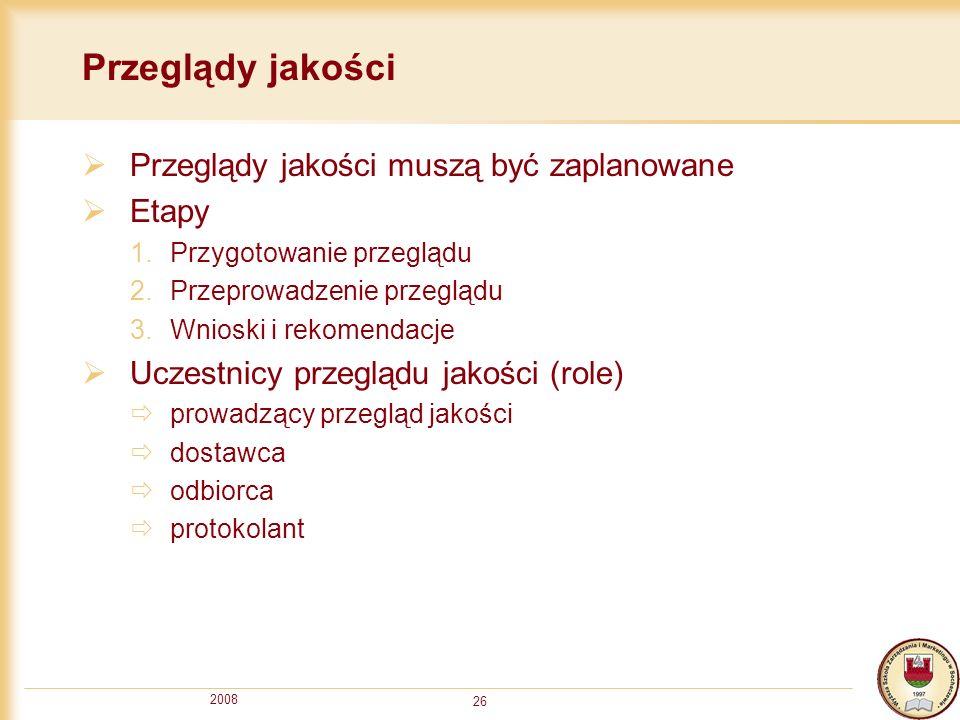 2008 26 Przeglądy jakości Przeglądy jakości muszą być zaplanowane Etapy 1.Przygotowanie przeglądu 2.Przeprowadzenie przeglądu 3.Wnioski i rekomendacje