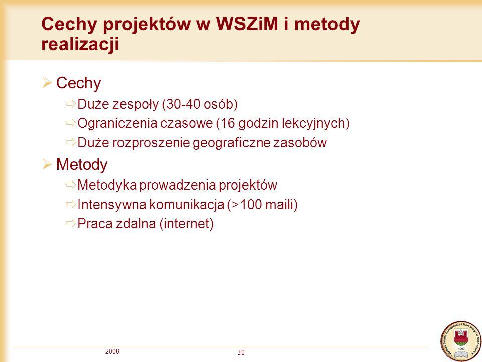 2008 30 Cechy projektów w WSZiM i metody realizacji Cechy Duże zespoły (30-40 osób) Ograniczenia czasowe (16 godzin lekcyjnych) Duże rozproszenie geog