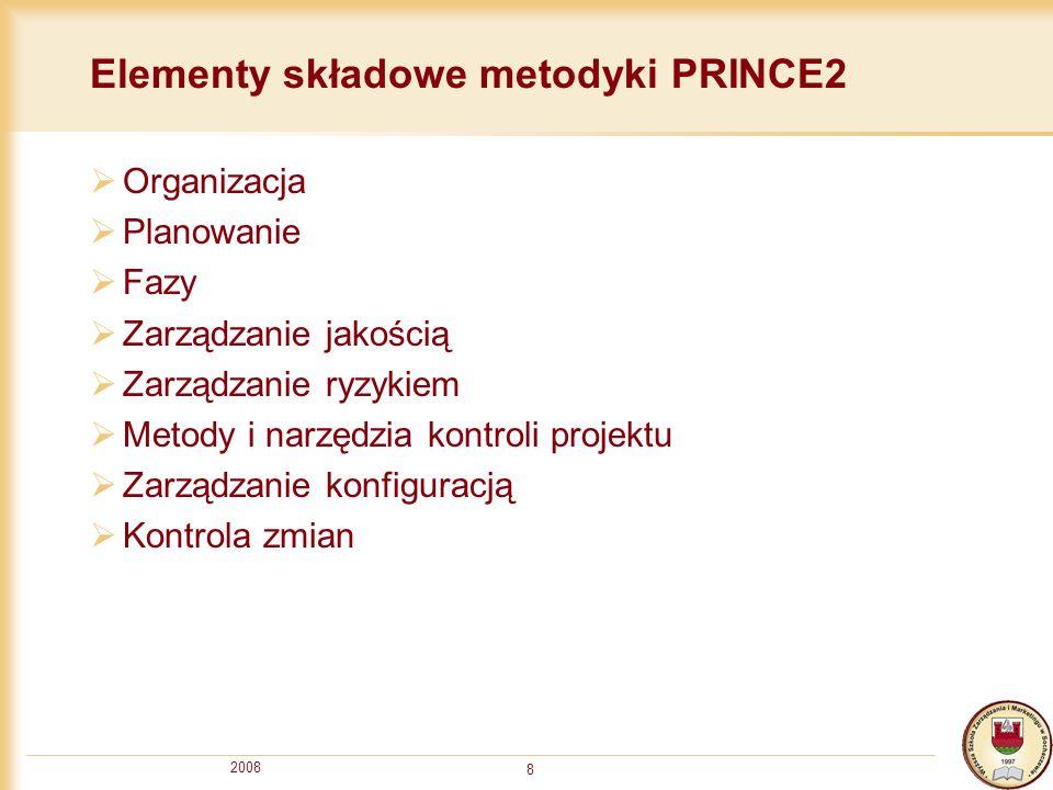2008 8 Elementy składowe metodyki PRINCE2 Organizacja Planowanie Fazy Zarządzanie jakością Zarządzanie ryzykiem Metody i narzędzia kontroli projektu Z