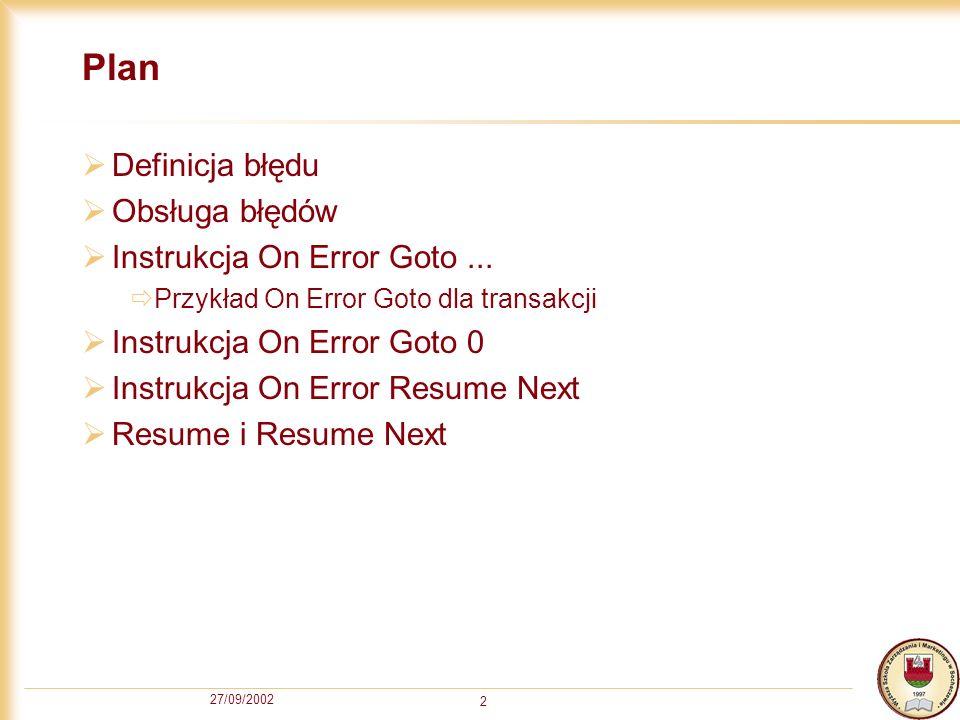 27/09/2002 3 Błąd Przez błąd (error) rozumiemy zdarzenie wygenerowane przez komputer wtedy, gdy nie może on wykonać zleconej mu operacji.