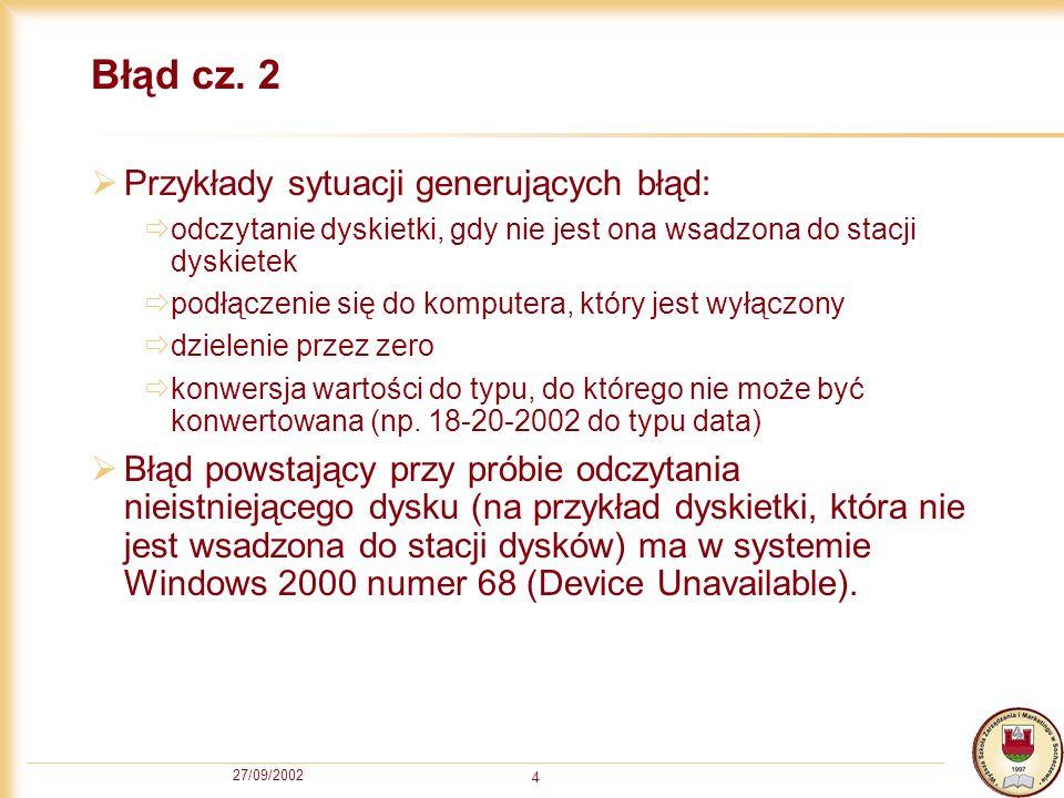 27/09/2002 15 Przykład 1 Sub Przycisk1_Klikniecie() Włączenie obsługi błędów On Error GoTo ObslugaBledow Deklaracja zmiennych Dim cn As Connection: Dim rs As Recordset: Dim i As Integer Stworzenie obiektów Set cn = New Connection: Set rs = New Recordset Otwarcie połączenie poprzez ODBC przez zrodlo danych o nazwie DSNMojaLiga2 cn.Open DSNMojaLiga2 Wykonanie polecenie SQL Wybierz wszystkei pola z wszytskich rekordow w tabeli Druzyna rs.Open SELECT * FROM Druzyna , cn Przejdz na pierwszy reokrd rs.MoveFirst Wstaw zawartosc pola Druz kazdego rekordu do kolejnych komorek i = 1 Do While Not rs.EOF Cells(i, 1).Value = rs.Fields( Druz ).Value: i = i + 1: rs.MoveNext Loop Zwalnianie zasobów Set rs = Nothing: Set cn = Nothing Wyjsce z procedury Exit Sub ObslugaBledow: Zwalnianie zasobów Set rs = Nothing: Set cn = Nothing Informacja o bledzie MsgBox Err.Number & : & Err.Description, vbCritical, Błąd End Sub