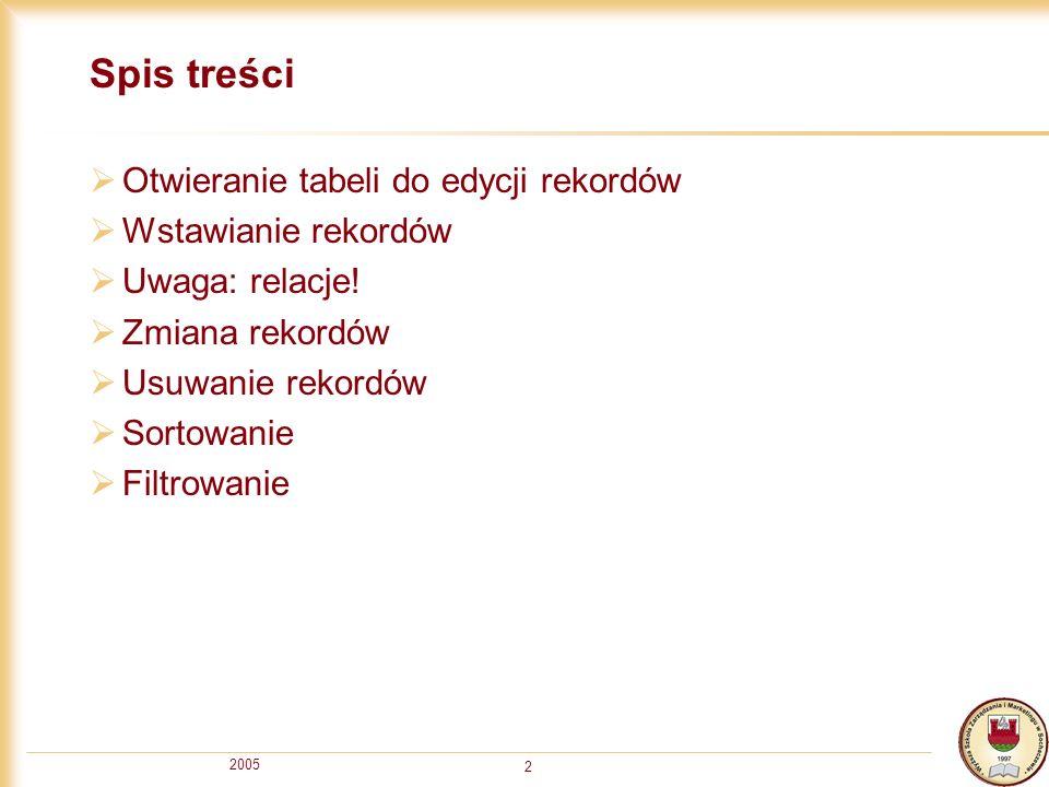 2005 2 Spis treści Otwieranie tabeli do edycji rekordów Wstawianie rekordów Uwaga: relacje.