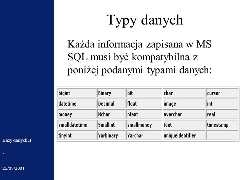 25/08/2001 Bazy danych II 4 Typy danych Każda informacja zapisana w MS SQL musi być kompatybilna z poniżej podanymi typami danych: