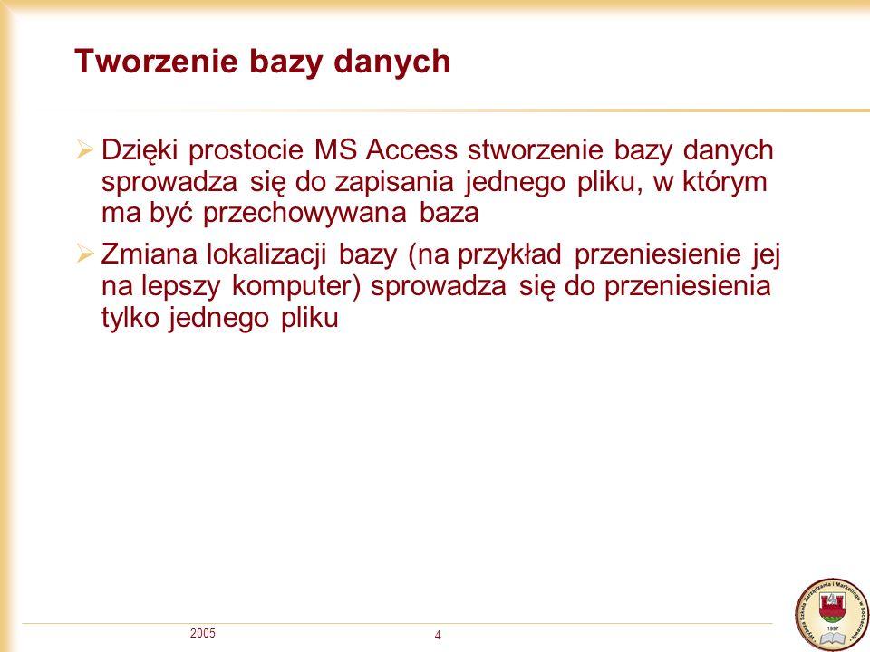 2005 4 Tworzenie bazy danych Dzięki prostocie MS Access stworzenie bazy danych sprowadza się do zapisania jednego pliku, w którym ma być przechowywana baza Zmiana lokalizacji bazy (na przykład przeniesienie jej na lepszy komputer) sprowadza się do przeniesienia tylko jednego pliku