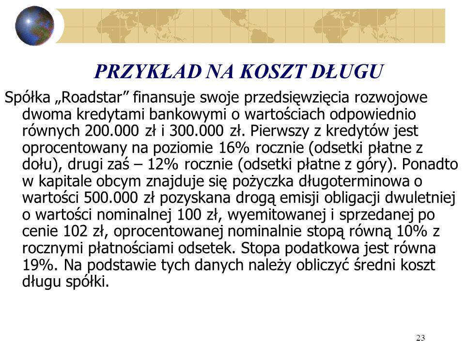 23 PRZYKŁAD NA KOSZT DŁUGU Spółka Roadstar finansuje swoje przedsięwzięcia rozwojowe dwoma kredytami bankowymi o wartościach odpowiednio równych 200.000 zł i 300.000 zł.