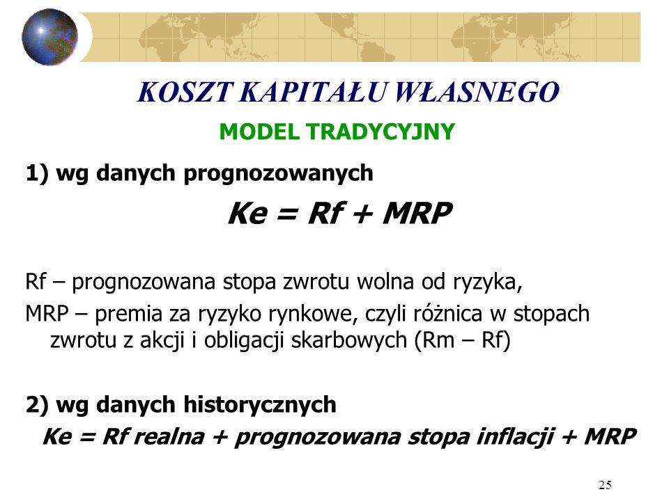 25 KOSZT KAPITAŁU WŁASNEGO MODEL TRADYCYJNY 1) wg danych prognozowanych Ke = Rf + MRP Rf – prognozowana stopa zwrotu wolna od ryzyka, MRP – premia za ryzyko rynkowe, czyli różnica w stopach zwrotu z akcji i obligacji skarbowych (Rm – Rf) 2) wg danych historycznych Ke = Rf realna + prognozowana stopa inflacji + MRP