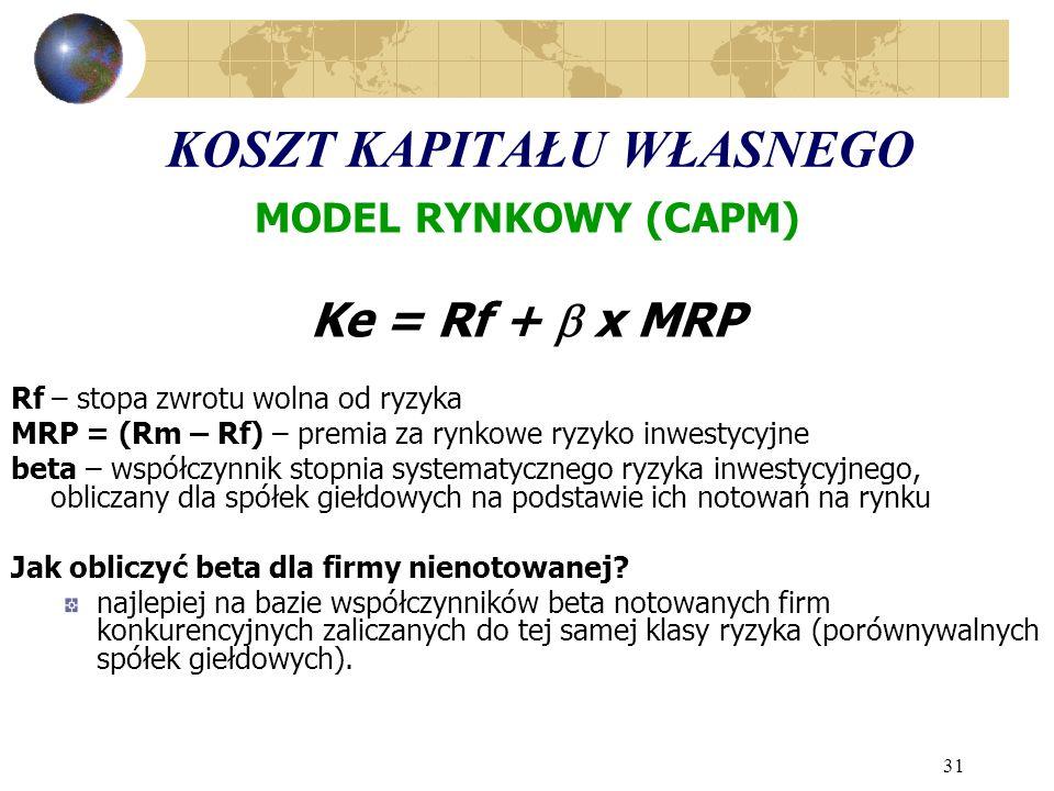 31 KOSZT KAPITAŁU WŁASNEGO MODEL RYNKOWY (CAPM) Ke = Rf + x MRP Rf – stopa zwrotu wolna od ryzyka MRP = (Rm – Rf) – premia za rynkowe ryzyko inwestycyjne beta – współczynnik stopnia systematycznego ryzyka inwestycyjnego, obliczany dla spółek giełdowych na podstawie ich notowań na rynku Jak obliczyć beta dla firmy nienotowanej.