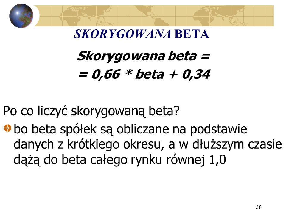 38 SKORYGOWANA BETA Skorygowana beta = = 0,66 * beta + 0,34 Po co liczyć skorygowaną beta? bo beta spółek są obliczane na podstawie danych z krótkiego