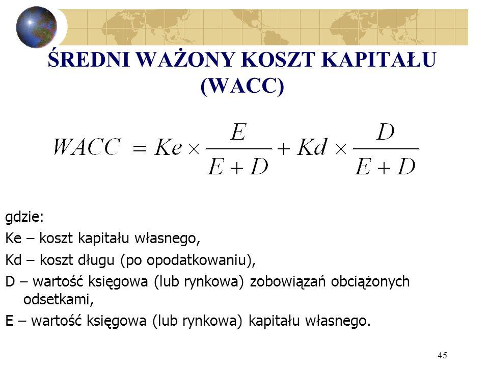 45 ŚREDNI WAŻONY KOSZT KAPITAŁU (WACC) gdzie: Ke – koszt kapitału własnego, Kd – koszt długu (po opodatkowaniu), D – wartość księgowa (lub rynkowa) zobowiązań obciążonych odsetkami, E – wartość księgowa (lub rynkowa) kapitału własnego.