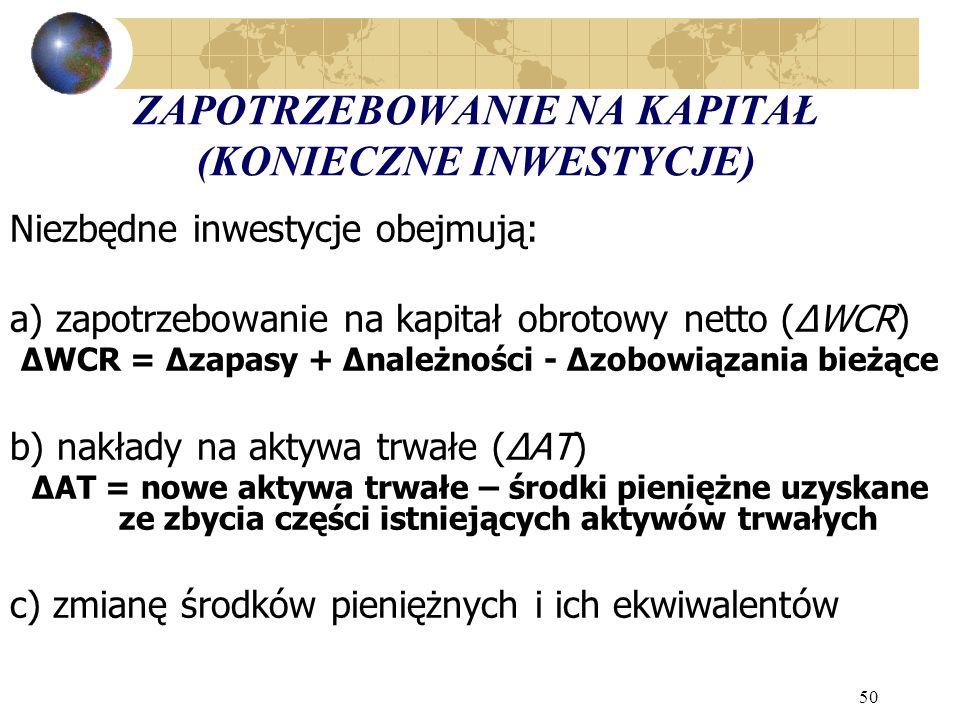 50 ZAPOTRZEBOWANIE NA KAPITAŁ (KONIECZNE INWESTYCJE) Niezbędne inwestycje obejmują: a) zapotrzebowanie na kapitał obrotowy netto (ΔWCR) ΔWCR = Δzapasy + Δnależności - Δzobowiązania bieżące b) nakłady na aktywa trwałe (ΔAT) ΔAT = nowe aktywa trwałe – środki pieniężne uzyskane ze zbycia części istniejących aktywów trwałych c) zmianę środków pieniężnych i ich ekwiwalentów
