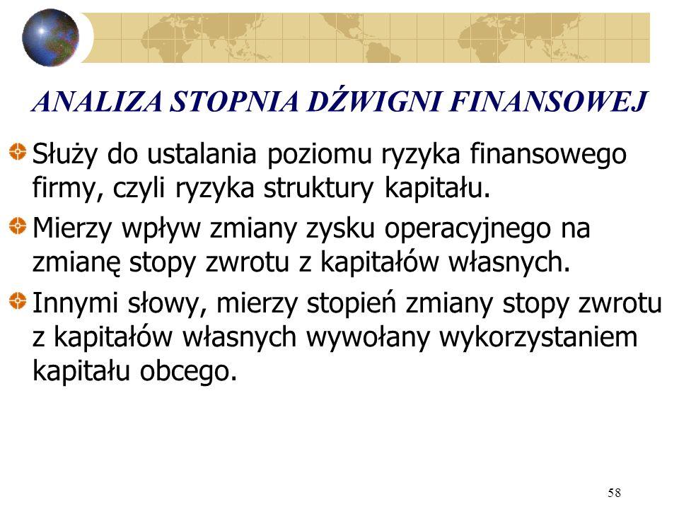 58 ANALIZA STOPNIA DŹWIGNI FINANSOWEJ Służy do ustalania poziomu ryzyka finansowego firmy, czyli ryzyka struktury kapitału.