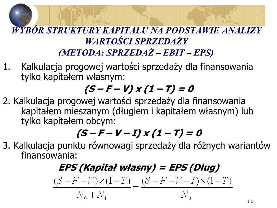 60 WYBÓR STRUKTURY KAPITAŁU NA PODSTAWIE ANALIZY WARTOŚCI SPRZEDAŻY (METODA: SPRZEDAŻ – EBIT – EPS) 1.Kalkulacja progowej wartości sprzedaży dla finansowania tylko kapitałem własnym: (S – F – V) x (1 – T) = 0 2.