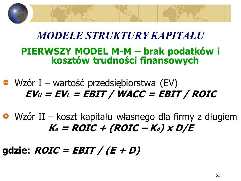 65 MODELE STRUKTURY KAPITAŁU PIERWSZY MODEL M-M – brak podatków i kosztów trudności finansowych Wzór I – wartość przedsiębiorstwa (EV) EV U = EV L = EBIT / WACC = EBIT / ROIC Wzór II – koszt kapitału własnego dla firmy z długiem K e = ROIC + (ROIC – K d ) x D/E gdzie: ROIC = EBIT / (E + D)