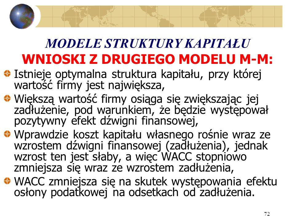 72 MODELE STRUKTURY KAPITAŁU WNIOSKI Z DRUGIEGO MODELU M-M: Istnieje optymalna struktura kapitału, przy której wartość firmy jest największa, Większą