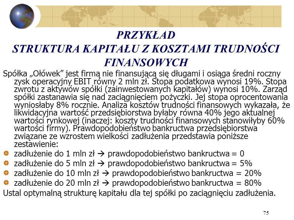 75 PRZYKŁAD STRUKTURA KAPITAŁU Z KOSZTAMI TRUDNOŚCI FINANSOWYCH Spółka Ołówek jest firmą nie finansującą się długami i osiąga średni roczny zysk operacyjny EBIT równy 2 mln zł.