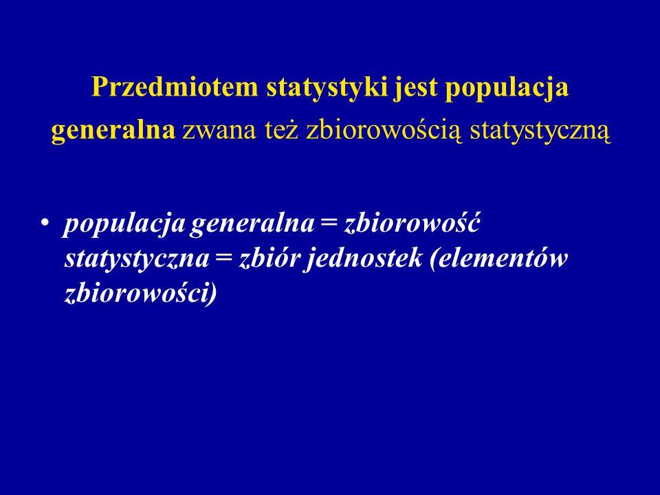 Przedmiotem statystyki jest populacja generalna zwana też zbiorowością statystyczną populacja generalna = zbiorowość statystyczna = zbiór jednostek (e