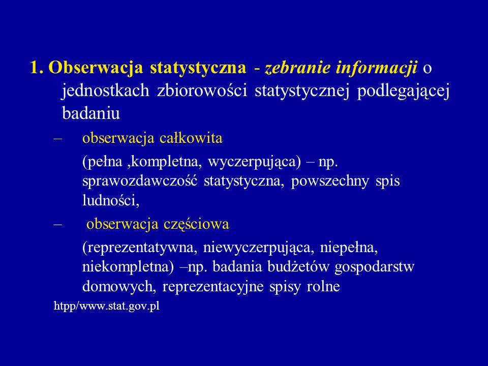 1. Obserwacja statystyczna - zebranie informacji o jednostkach zbiorowości statystycznej podlegającej badaniu –obserwacja całkowita (pełna,kompletna,
