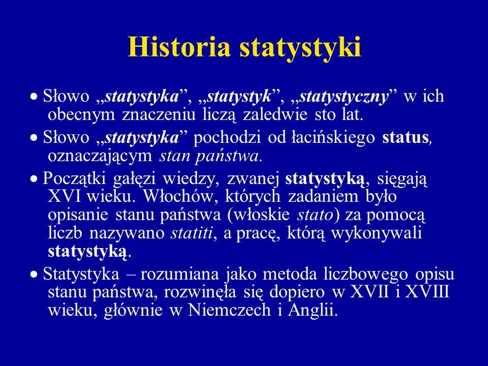 Historia statystyki Słowo statystyka, statystyk, statystyczny w ich obecnym znaczeniu liczą zaledwie sto lat. Słowo statystyka pochodzi od łacińskiego