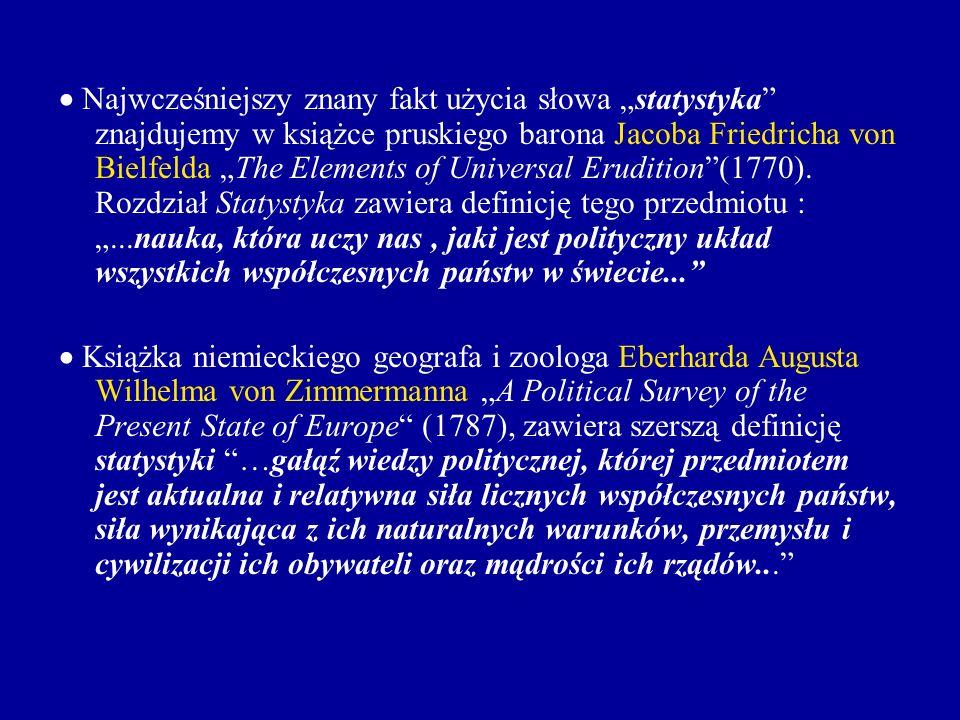 Najwcześniejszy znany fakt użycia słowa statystyka znajdujemy w książce pruskiego barona Jacoba Friedricha von Bielfelda The Elements of Universal Eru