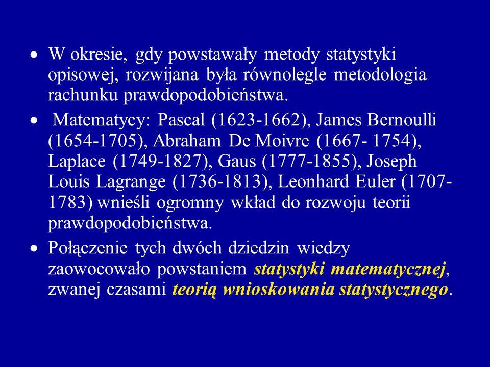 W okresie, gdy powstawały metody statystyki opisowej, rozwijana była równolegle metodologia rachunku prawdopodobieństwa. Matematycy: Pascal (1623-1662