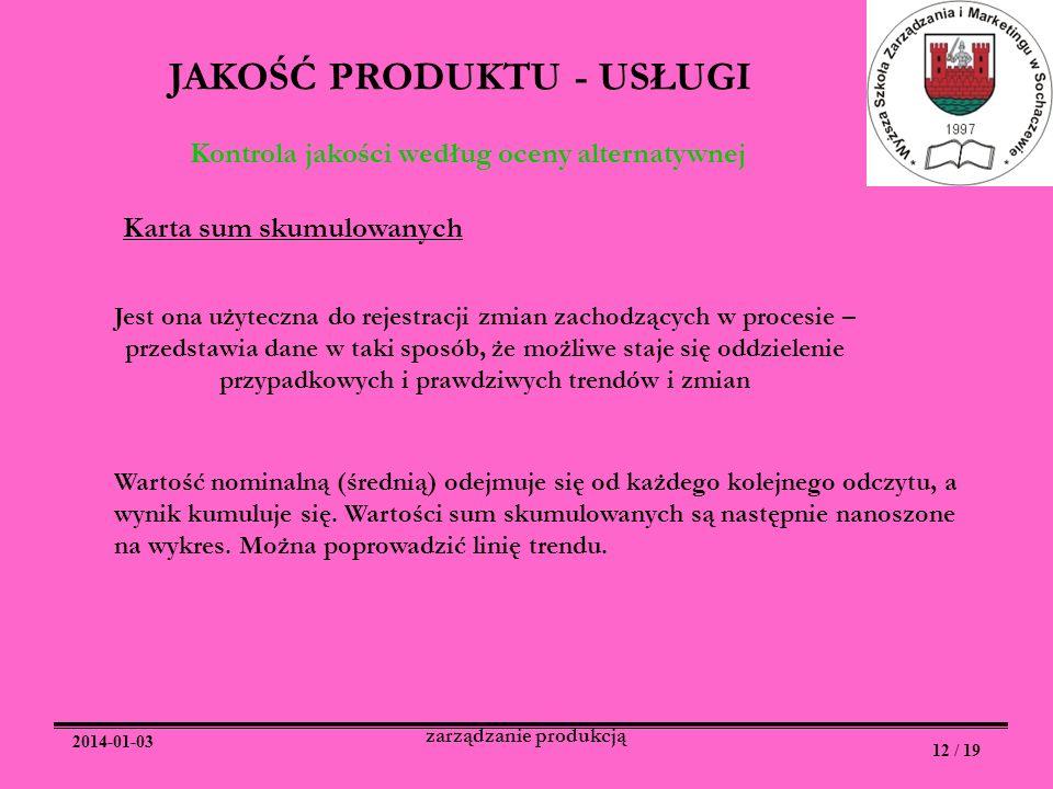 2014-01-03 12 / 19 zarządzanie produkcją JAKOŚĆ PRODUKTU - USŁUGI Kontrola jakości według oceny alternatywnej Karta sum skumulowanych Jest ona użytecz
