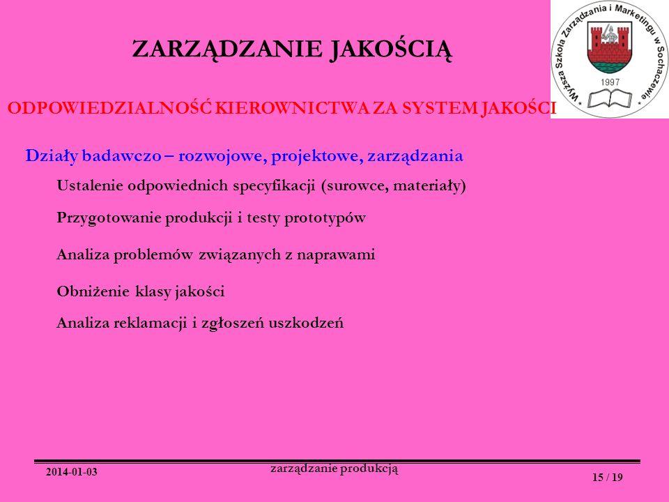 2014-01-03 15 / 19 zarządzanie produkcją ZARZĄDZANIE JAKOŚCIĄ ODPOWIEDZIALNOŚĆ KIEROWNICTWA ZA SYSTEM JAKOŚCI Działy badawczo – rozwojowe, projektowe,