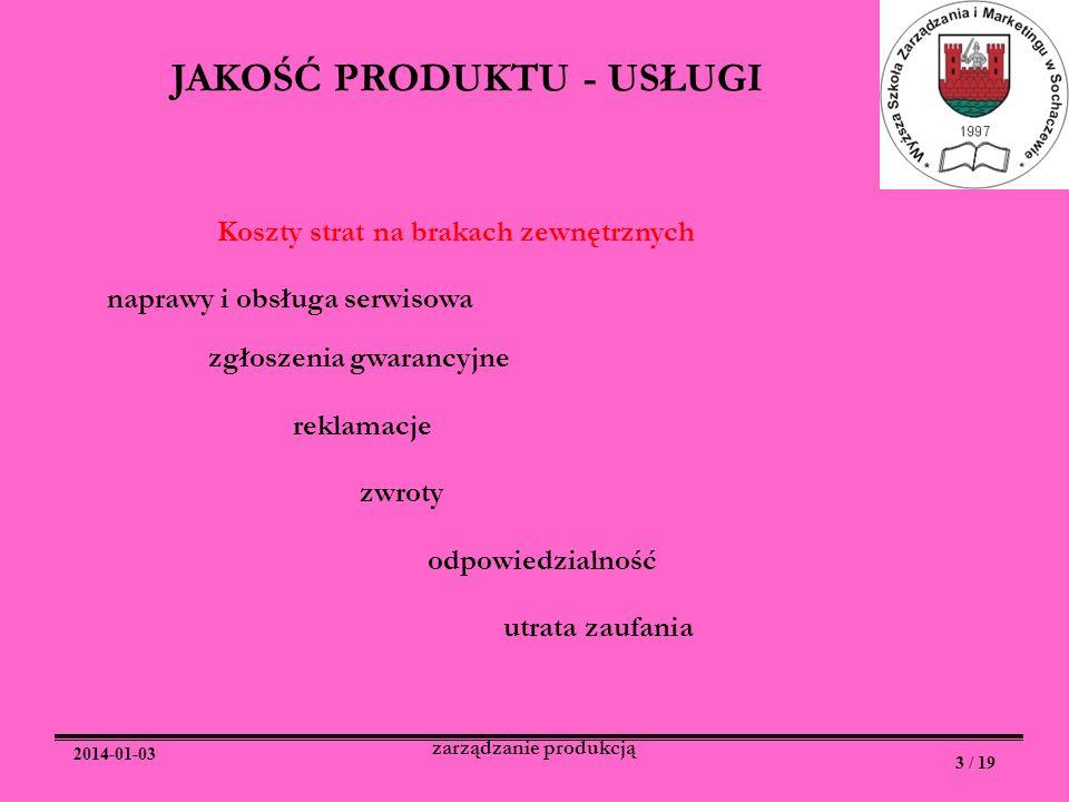 2014-01-03 3 / 19 zarządzanie produkcją JAKOŚĆ PRODUKTU - USŁUGI Koszty strat na brakach zewnętrznych naprawy i obsługa serwisowa zgłoszenia gwarancyj