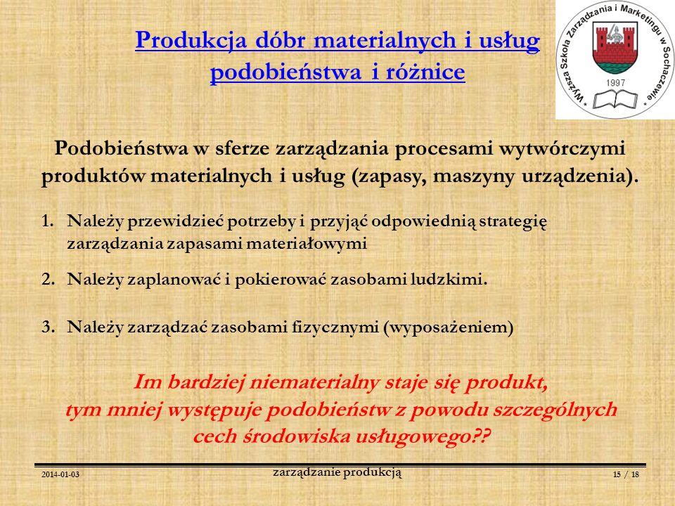 2014-01-0315 / 18 zarządzanie produkcją Produkcja dóbr materialnych i usług podobieństwa i różnice Podobieństwa w sferze zarządzania procesami wytwórc