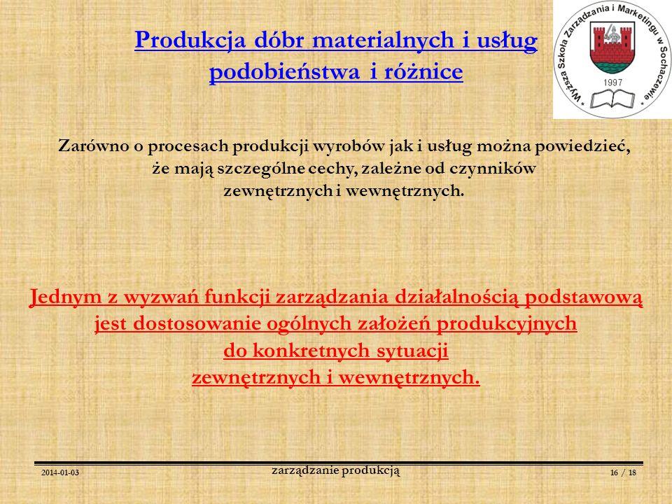 2014-01-0316 / 18 zarządzanie produkcją Jednym z wyzwań funkcji zarządzania działalnością podstawową jest dostosowanie ogólnych założeń produkcyjnych