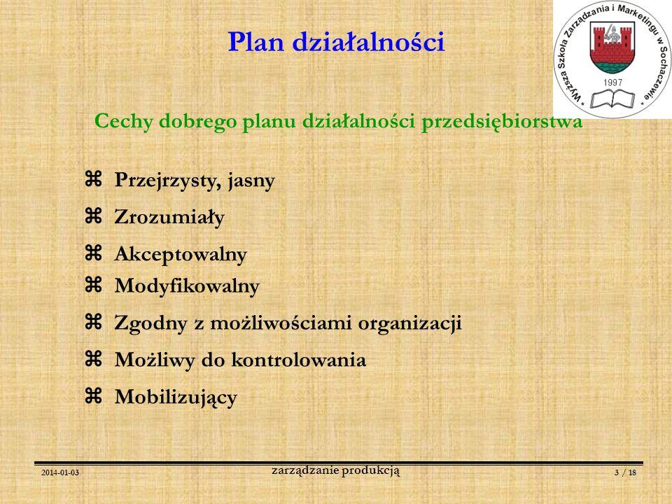 2014-01-033 / 18 zarządzanie produkcją Plan działalności Cechy dobrego planu działalności przedsiębiorstwa Przejrzysty, jasny Możliwy do kontrolowania
