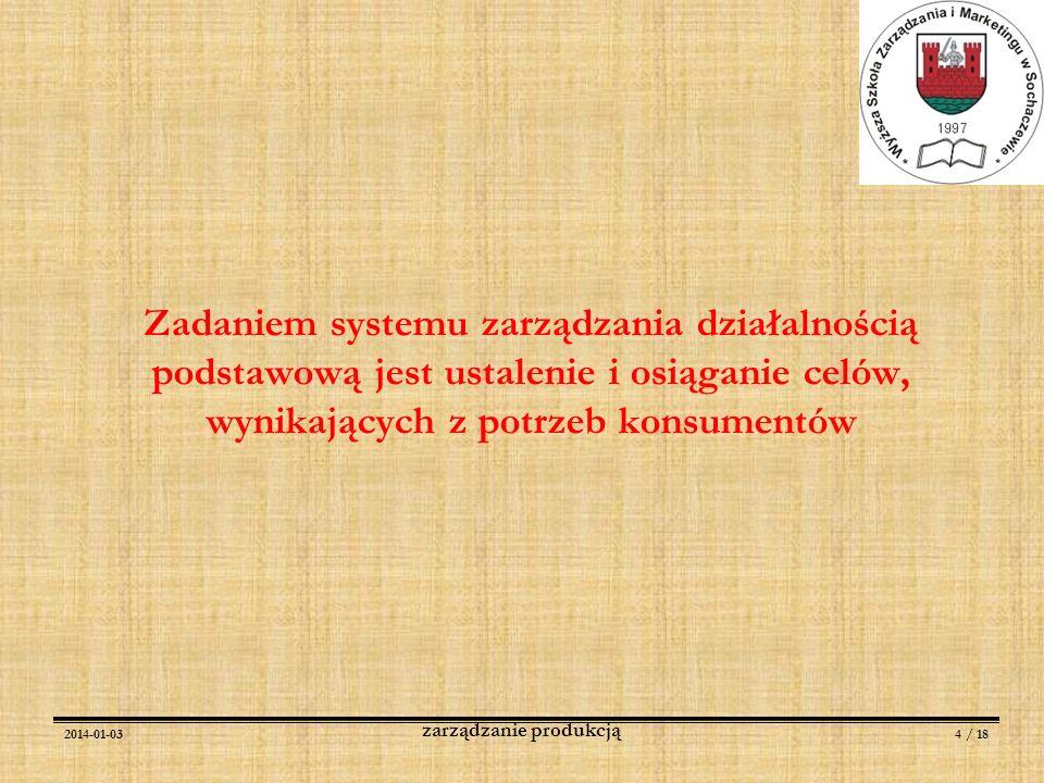 2014-01-034 / 18 zarządzanie produkcją Zadaniem systemu zarządzania działalnością podstawową jest ustalenie i osiąganie celów, wynikających z potrzeb