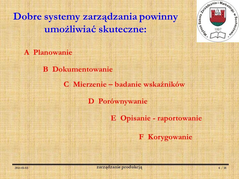 2014-01-036 / 18 zarządzanie produkcją Dobre systemy zarządzania powinny umożliwiać skuteczne: A Planowanie B Dokumentowanie C Mierzenie – badanie wsk