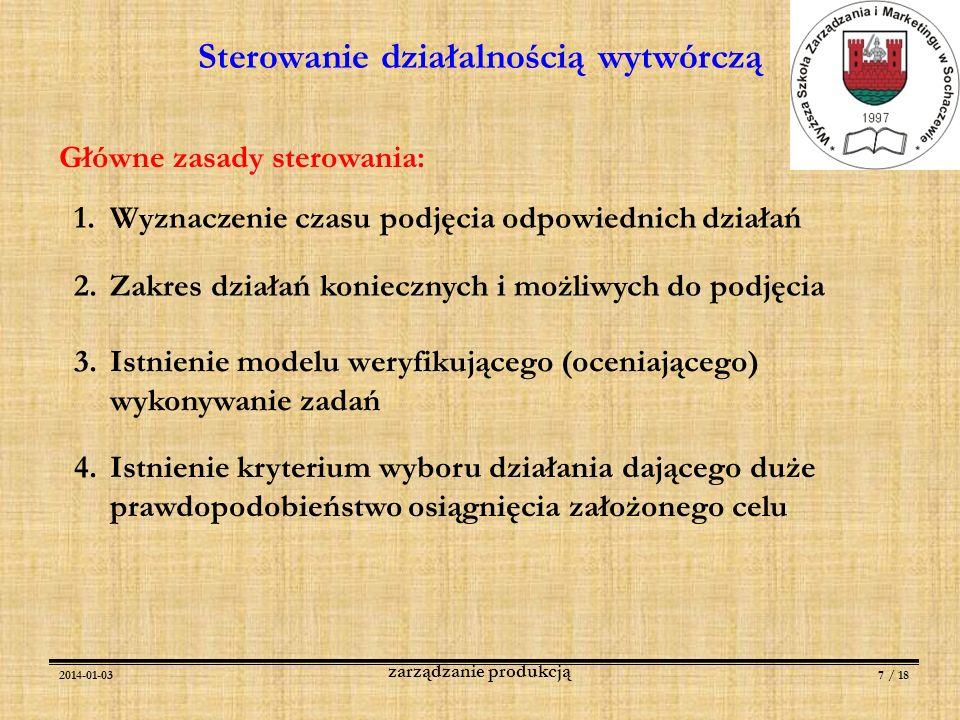 2014-01-037 / 18 zarządzanie produkcją Sterowanie działalnością wytwórczą Główne zasady sterowania: 1.Wyznaczenie czasu podjęcia odpowiednich działań