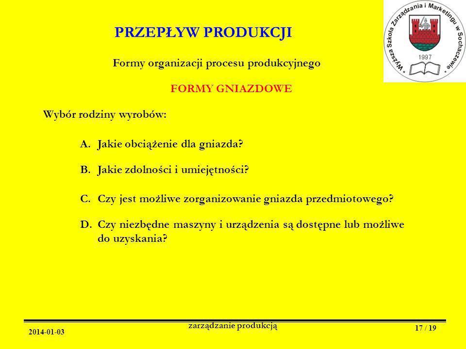 2014-01-03 zarządzanie produkcją 17 / 19 PRZEPŁYW PRODUKCJI Formy organizacji procesu produkcyjnego FORMY GNIAZDOWE Wybór rodziny wyrobów: A.Jakie obciążenie dla gniazda.