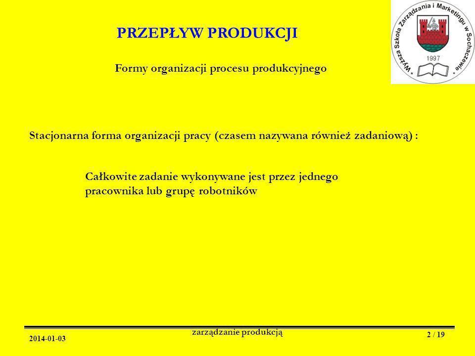 2014-01-03 zarządzanie produkcją 2 / 19 PRZEPŁYW PRODUKCJI Formy organizacji procesu produkcyjnego Stacjonarna forma organizacji pracy (czasem nazywana również zadaniową) : Całkowite zadanie wykonywane jest przez jednego pracownika lub grupę robotników