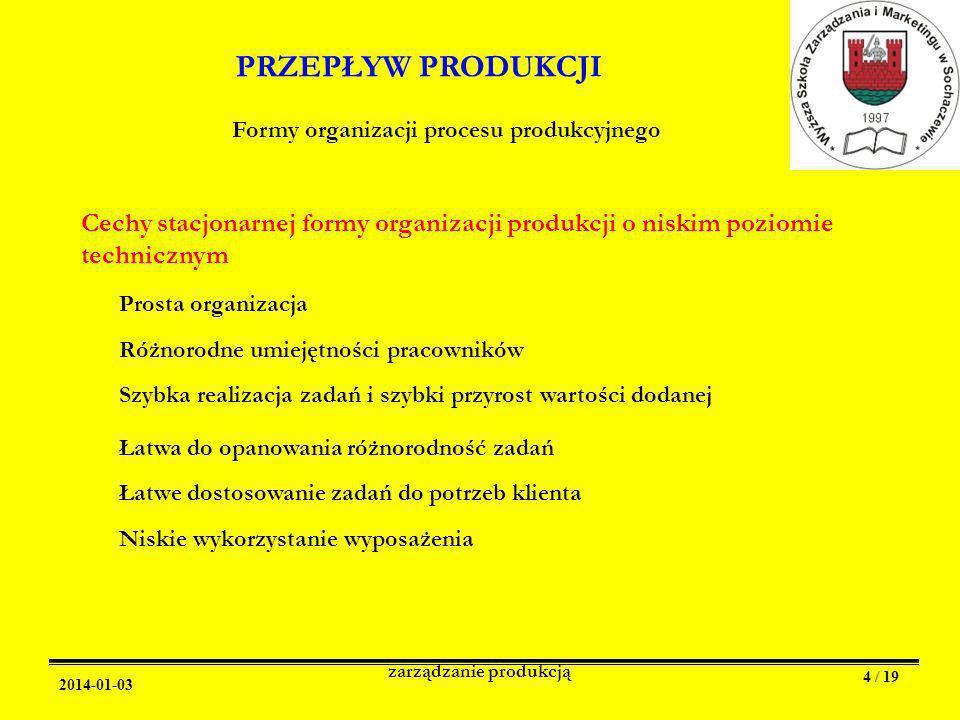 2014-01-03 zarządzanie produkcją 4 / 19 PRZEPŁYW PRODUKCJI Formy organizacji procesu produkcyjnego Cechy stacjonarnej formy organizacji produkcji o niskim poziomie technicznym Prosta organizacja Różnorodne umiejętności pracowników Szybka realizacja zadań i szybki przyrost wartości dodanej Łatwa do opanowania różnorodność zadań Łatwe dostosowanie zadań do potrzeb klienta Niskie wykorzystanie wyposażenia