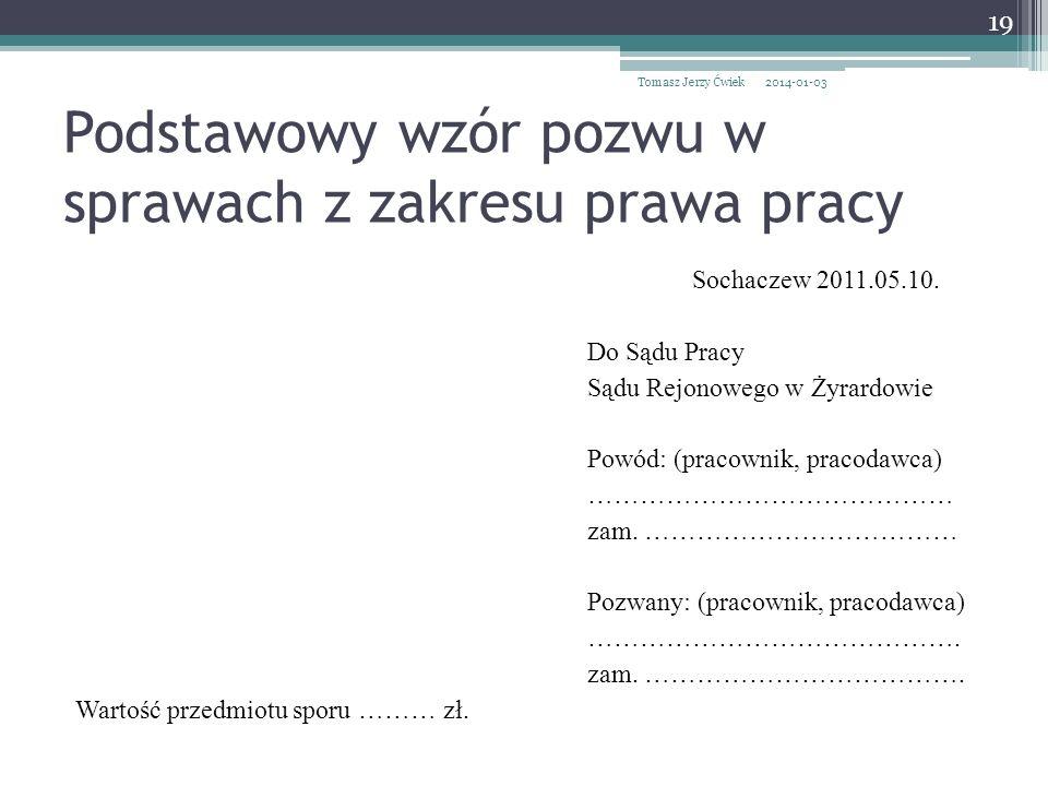 Podstawowy wzór pozwu w sprawach z zakresu prawa pracy Sochaczew 2011.05.10.