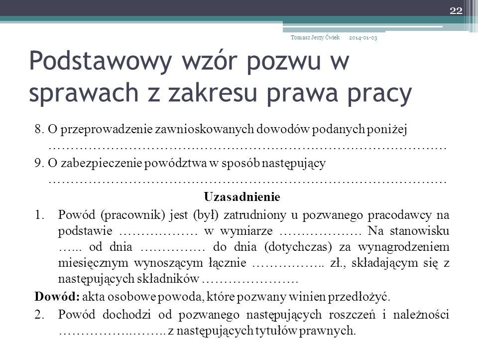 Podstawowy wzór pozwu w sprawach z zakresu prawa pracy 8.
