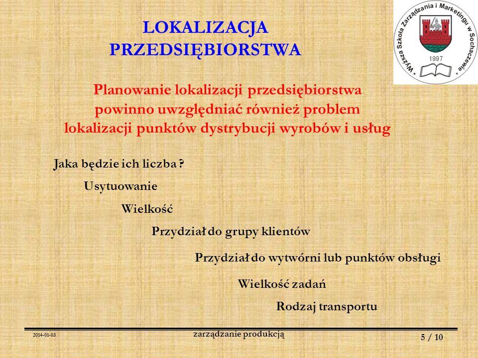 2014-01-03 5 / 10 zarządzanie produkcją LOKALIZACJA PRZEDSIĘBIORSTWA Planowanie lokalizacji przedsiębiorstwa powinno uwzględniać również problem lokal