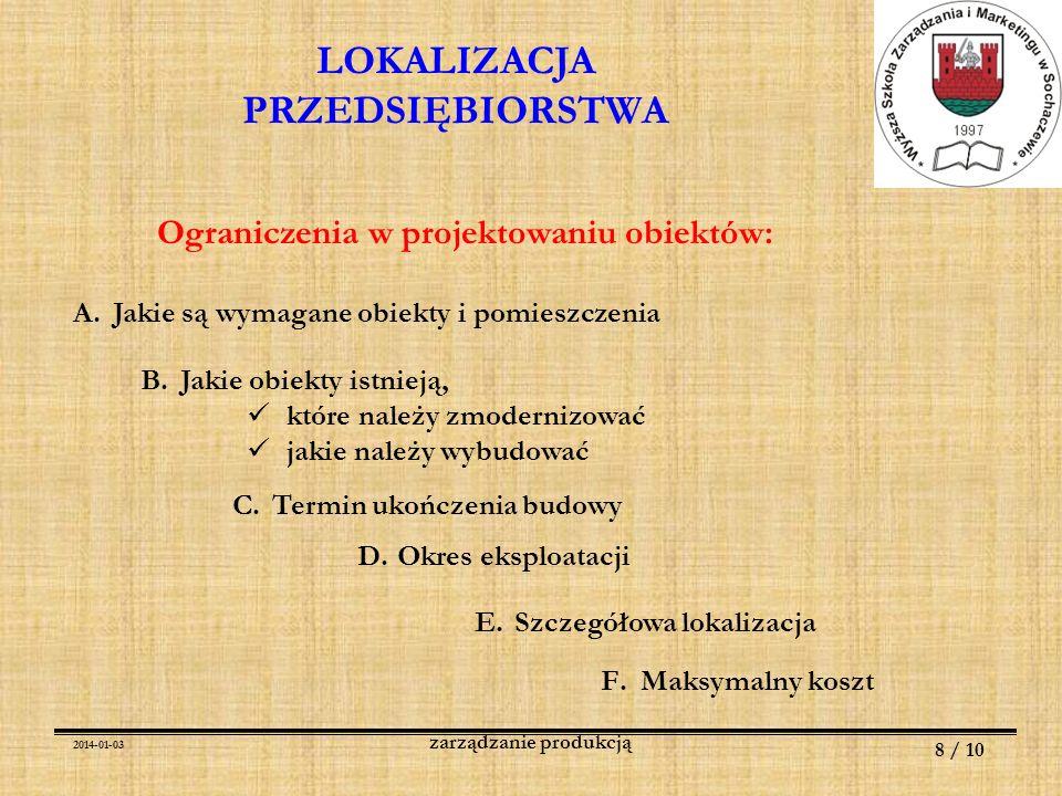 2014-01-03 8 / 10 zarządzanie produkcją LOKALIZACJA PRZEDSIĘBIORSTWA Ograniczenia w projektowaniu obiektów: A.Jakie są wymagane obiekty i pomieszczeni