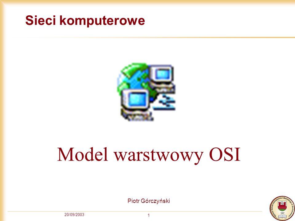20/09/2003 1 Sieci komputerowe Piotr Górczyński Model warstwowy OSI
