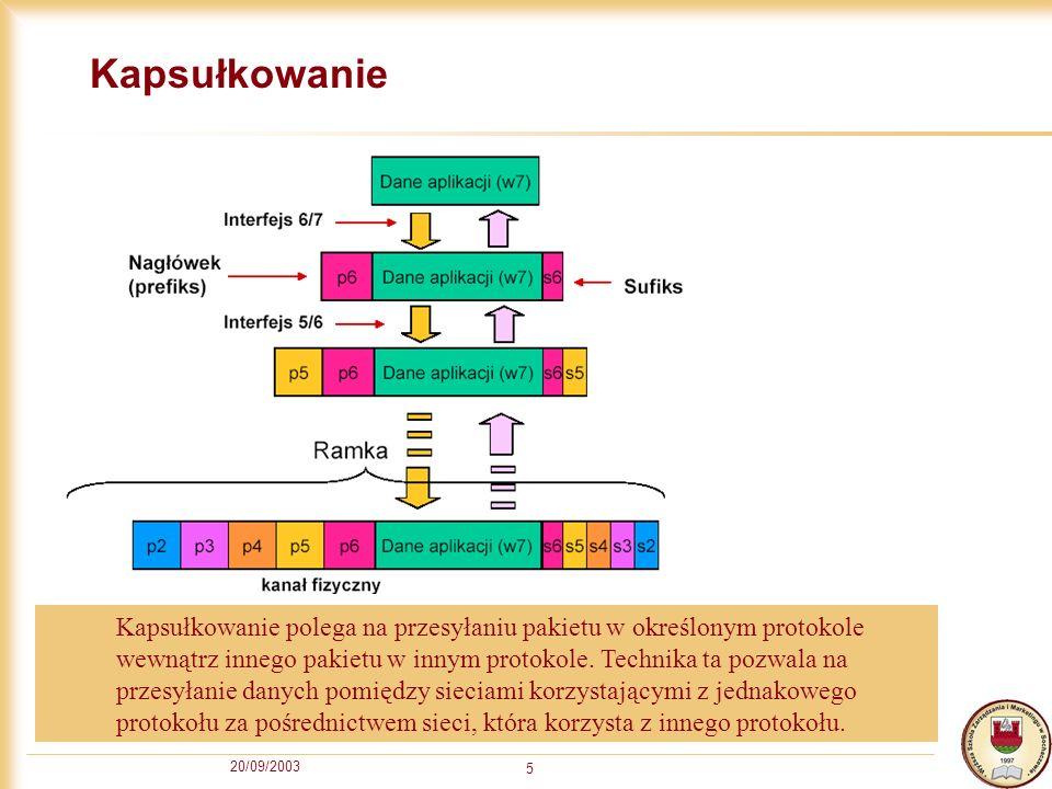 20/09/2003 5 Kapsułkowanie Kapsułkowanie polega na przesyłaniu pakietu w określonym protokole wewnątrz innego pakietu w innym protokole. Technika ta p