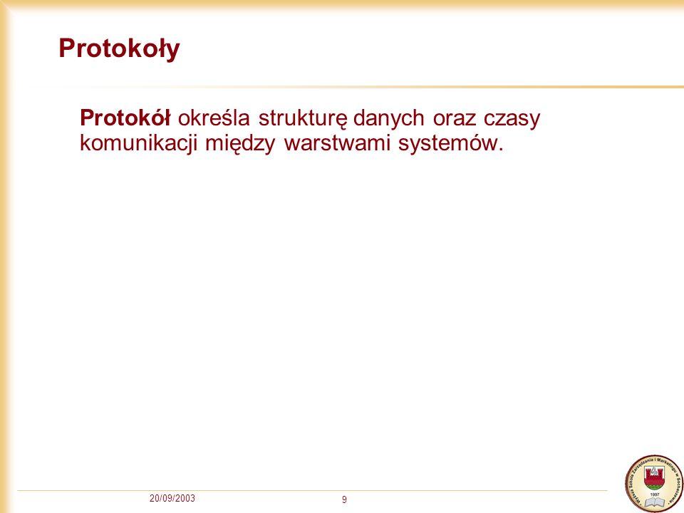 20/09/2003 9 Protokoły Protokół określa strukturę danych oraz czasy komunikacji między warstwami systemów.