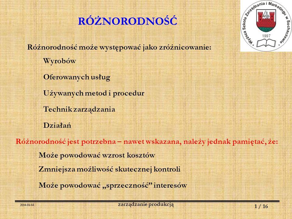 2014-01-03 12 / 16 zarządzanie produkcją RÓŻNORODNOŚĆ ANALIZA WARTOŚCI Identyfikacja funkcji produktu (usługi) Funkcje podstawowe [ ????????.
