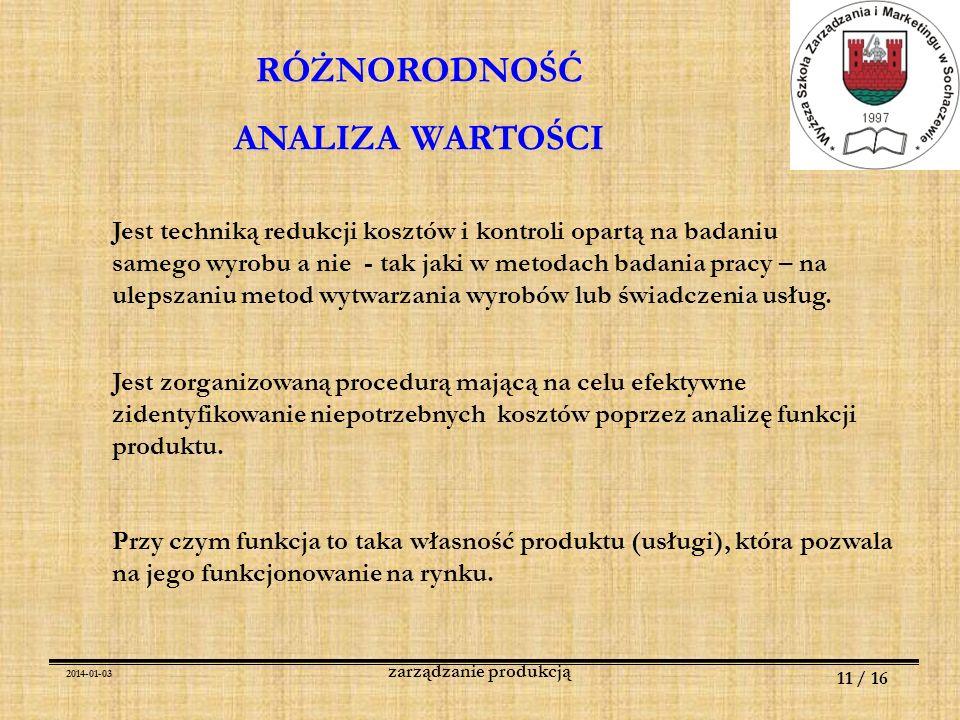 2014-01-03 11 / 16 zarządzanie produkcją RÓŻNORODNOŚĆ ANALIZA WARTOŚCI Jest techniką redukcji kosztów i kontroli opartą na badaniu samego wyrobu a nie