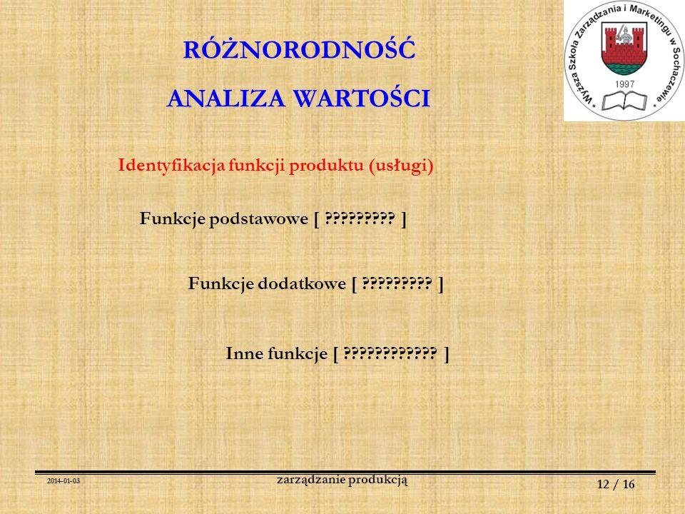 2014-01-03 12 / 16 zarządzanie produkcją RÓŻNORODNOŚĆ ANALIZA WARTOŚCI Identyfikacja funkcji produktu (usługi) Funkcje podstawowe [ ????????? ] Funkcj