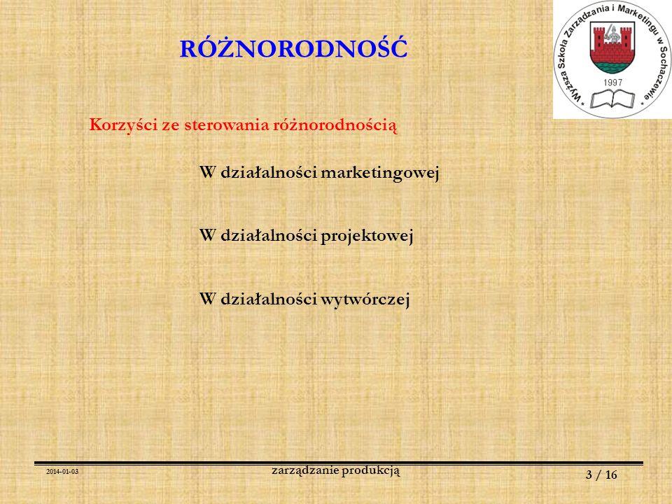 2014-01-03 3 / 16 zarządzanie produkcją RÓŻNORODNOŚĆ Korzyści ze sterowania różnorodnością W działalności marketingowej W działalności projektowej W d