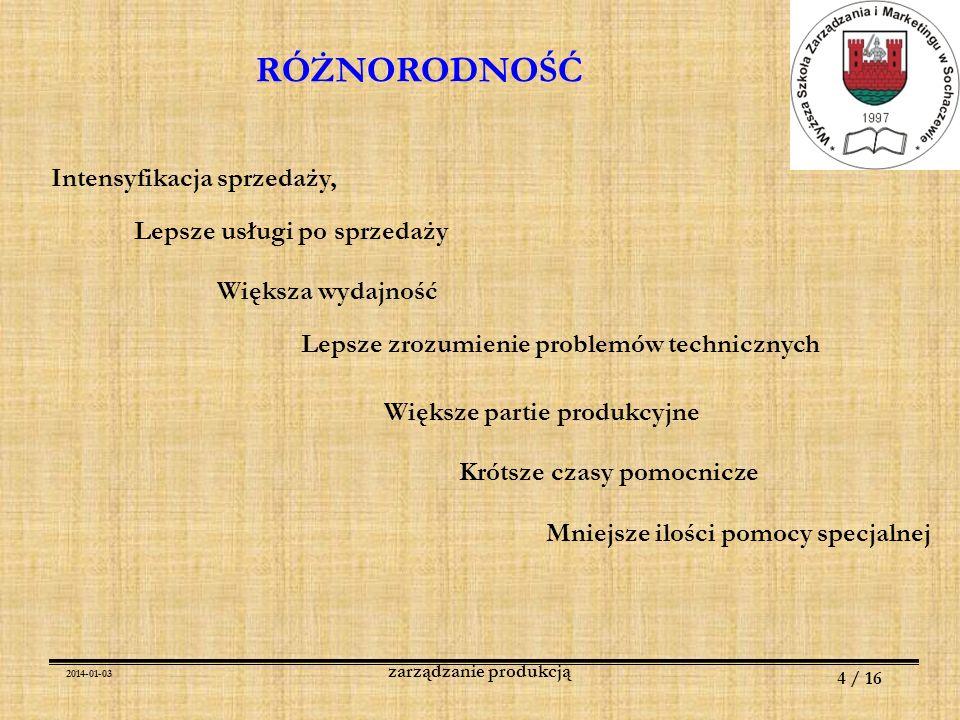 2014-01-03 4 / 16 zarządzanie produkcją RÓŻNORODNOŚĆ Intensyfikacja sprzedaży, Lepsze usługi po sprzedaży Większa wydajność Lepsze zrozumienie problem
